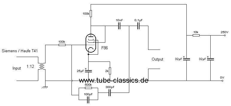 RIAA-Sie-T41-EF86-Triode-leise Riaa Preamp Schematic on riaa amplifier schematic, tone control schematic, riaa preamp tubes,